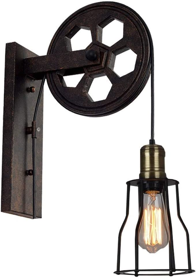 XDDDX 光壁取り付け用燭台キー付きソケットプーリー産業用壁取り付け用燭台レトロな壁照明器具屋内照明用錆びた納屋レストラン