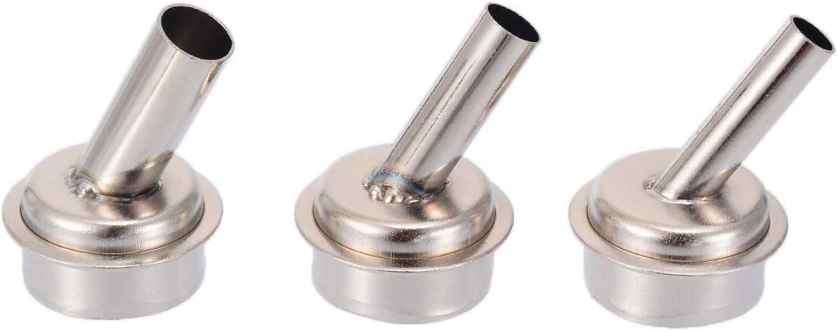 RETYLY 3 piezas Boquilla de Calor Curvada de 45 Grados Boquillas de Aire Caliente de 6/7 / 9Mm para Estaciones de Soldadura Quick 861Dw