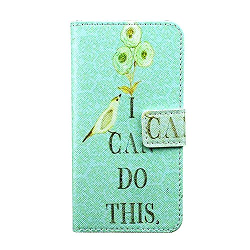 Bayke Brand / New Samsung Galaxy Grand Prime Case - I Can Do This Pattern , Fashion Print Style PU Leather Wallet with Strap Built-in Media Bracket / ID Credit Card and Cash Slots , Folio Closure Cover for Samsung Galaxy Grand Prime G530H