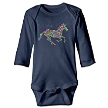 BADOU Colorful Rainbow Unicorn For 6-24 Months Baby Romper Jumpsuit Navy