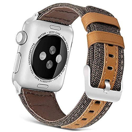 Deyo Compatible Apple Watch Bands 38mm/40mm 42mm/44mm Women Men Canvas Fabric with Genuine Leather Straps with Metal Clasp Compatible iwatch Series 4/3/2/1 (Brown42mm/44mm)