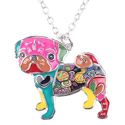 Pug Necklace - BONSNY Love Heart Enamel Zinc Alloy Metal Pug Dog Necklace Bulldog Animal pendant 18