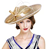 FADVES Women Wide Brim Sinamay Hats Feather Kentucky Derby Church Floppy Dress Hat Gold