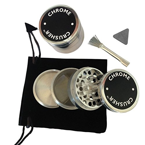 Chrome Crusher 2.25'' Tobacco Spice Herb Grinder 56mm Alumium 4pc with (Bag, Scrapper, Brush) (Chrome Grinder compare prices)