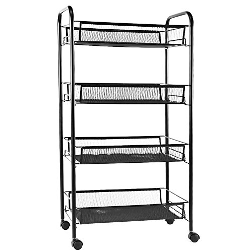 YIMU 4 Tier Mesh Wire Rolling File Organizer Utility Cart Kitchen Storage Cart on Wheels, Steel Wire Basket Shelving Trolley for Office Kitchen, Black Wire Basket Shelving