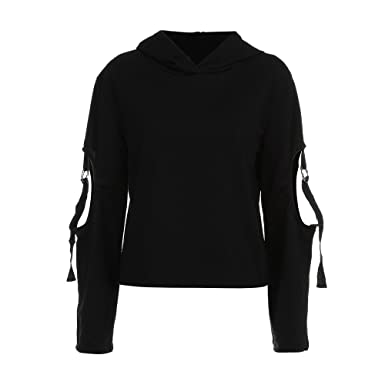 Oversized Hoodie - DMZing Edgy O-Ring Long Dropped Sleeve Top Cut-Out Elbow