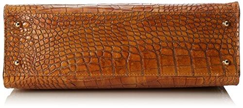 CTM Bolsas para mujeres del bolso de mano clásico con estampado de cocodrilo, 37x26x14cm, cuero genuino 100% Made in Italy Naranja (Cuoio)