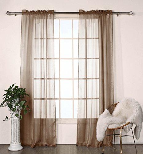 Set of Two (2) Sheer Window Curtain Panels: Satin Stripe, 76