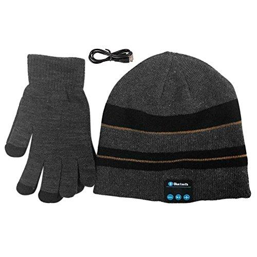 Homedeco Soft Warm Beanie Hat Wireless Bluetooth Smart Cap Headset Headphone Speaker Mic Bluetooth Hat with Touchscreen Gloves (Dark Gray)