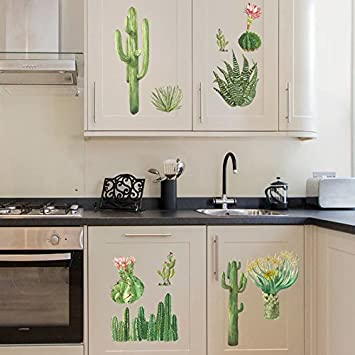 Pegatinas De Pared Cactus Decoración Del Hogar Sala De Estar ...