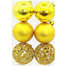 Amiley Christmas Tree Balls Ornaments ,6PC 6cm Christmas Tree Xmas Balls Decorations Baubles Party Wedding Ornament (Yellow)