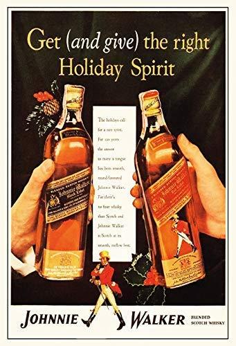 USAL Johnnie Walker Red & Black Label Whisky Blechschild Schild Blech Metall Metal Tin Sign 20 x 30 cm