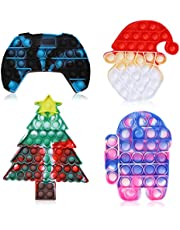 4 Pcs Push It Pop Fidget Bubble Sensory Toys, Autism Special Stress Needs Relief Silicone Pressure Relieving, Cheap Pretty Squeeze for Kids Adults.