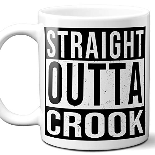 Straight Outta Crook UK Souvenir Gift Coffee Mug. Unique I Love England City Town Lover Coffee Tea Cup Men Women Birthday Mothers Day Fathers Day Christmas. 11 oz. ()