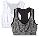 Lily of France Women's 2 Pack Reversible Sports Bra 2179801, Black Space Dye/White/Nickel, Small For Sale