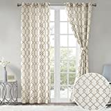 Comfort Spaces 2 Panel Curtains – Bridget Faux Linen Window Curtains 95 inch Length Grommet Top with Tie Backs – White/Taupe Fretwork Embroidery Design
