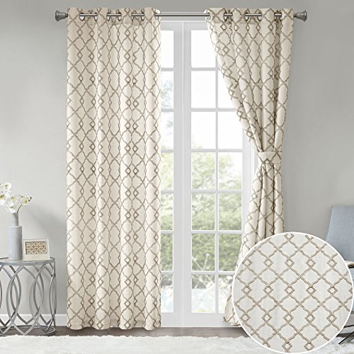 Comfort Spaces 2 Panel Curtains - Bridget Faux Linen Window Curtains 63 inch Length Grommet Top with Tie Backs - White/Taupe Fretwork Embroidery ()