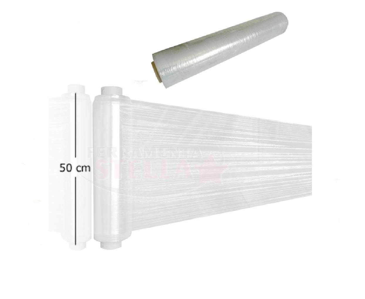 Palucart pellicola film estensibile bianco 6 rotoli da 2,2kg h50cm 23mycron