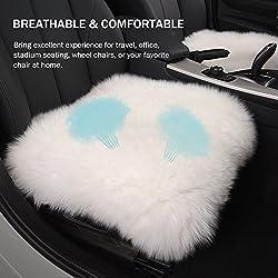 Dofover 18 Inch Luxurious Genuine Sheepskin Wool Car Seat Cushion Fur Covers Chair Pad (White)