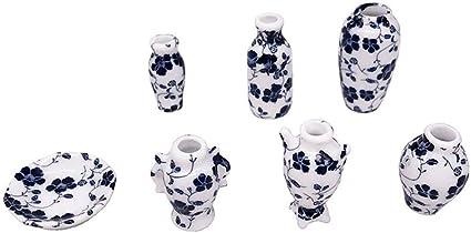 2pcs 1//12 Miniature Bunch Flower in Vase Pots Dolls House Room Decoration