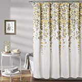 Yellow and Gray Shower Curtain Lush Decor Weeping Flower Shower Curtain - Fabric Floral Vine Print Design, 72
