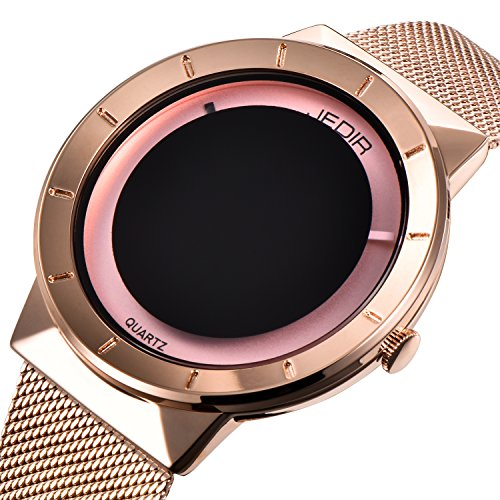 Bestn Wristwatches Men's Simple Creative Analog Quartz Rose-gold Mash Band Sport Watch