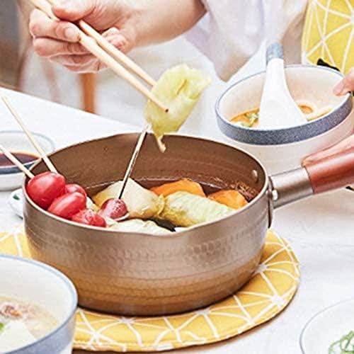 Or non bâton Coated lait Pot, en alliage d'aluminium en acier inoxydable Pot au lait avec poignée en bois DAGUAI (Size : 20cm)