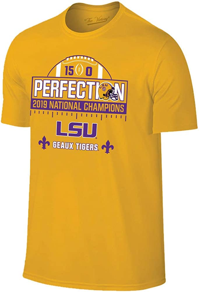Elite Fan Shop LSU Tigers National Championship Champs Perfection Tshirt 2019-2020 Schedule Gold
