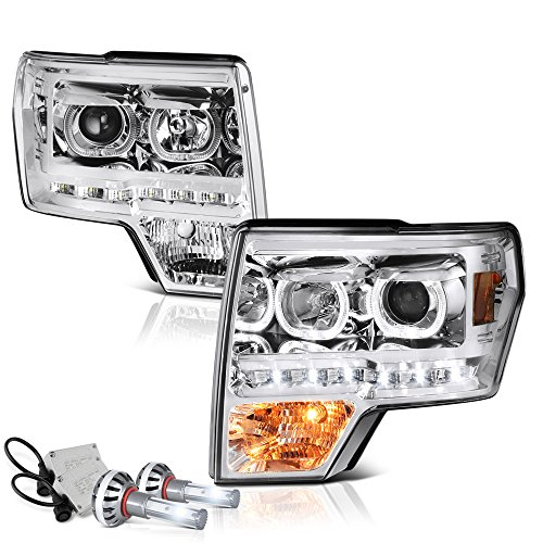 [Built-In CSP LED Low Beam] VIPMOTOZ LED Halo Ring Projector Headlight Assembly For 2009-2014 Ford F-150 (Factory Halogen Model) - Metallic Chrome Housing, Driver and Passenger Side