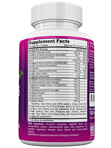 KLEENIQ ™ with Biotin 5000 mcg and Hydrolyzed Collagen Hair Skin and Nails Vitamins supplement For Women and Men Non GMO Formula– Plus Calcium and Multivitamins