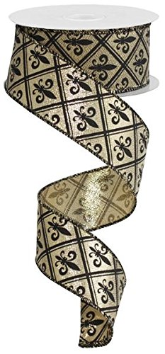 Fleur de Lis Wired Edge Ribbon, 10 Yards (1.5