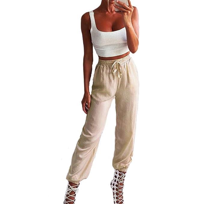 56b64679c6e1dd LAIKETE Pantaloni Cargo Aderenti Alta Vita Donna Ragazza con Coulisse Tasca  Leggings Colori Solidi Pantalone Slim Fit Matita Elegante da Danza Jogging  Sport ...