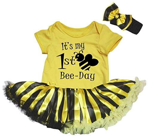 Petitebella It's My 1st Bee Day Bodysuit Black Yellow Striped Tutu Nb-18m (Yellow, 12-18 Months)]()