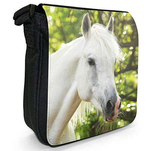 Size Shoulder White Elegant Black Stallion Canvas Portrait Horses Horse Stunning Small Bag Superb ax4fq6zw