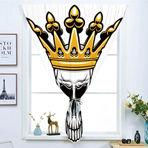 Blackout Window Curtain,Free Punching Magic Stickers Curtain,King,Hand Drawn Crowned Skull Cranium with Coronet Tiara Halloween Themed Image Decorative,Golden and Light Grey,Paste style,for Living Roo -