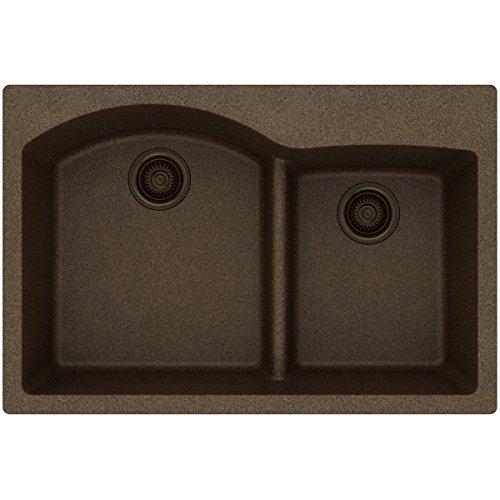 Elkay Quartz Classic ELGH3322RMC0 Mocha Offset 60/40 Double Bowl Top Mount Sink