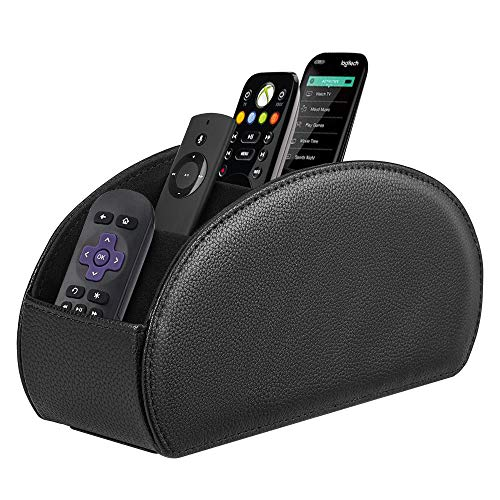 (Fintie Remote Control Holder, Vegan Leather TV Remote Caddy Desktop Organizer 5 Compartments Fits TV Remotes, Media Controllers, Office Supplies, Makeup Brush, Black)