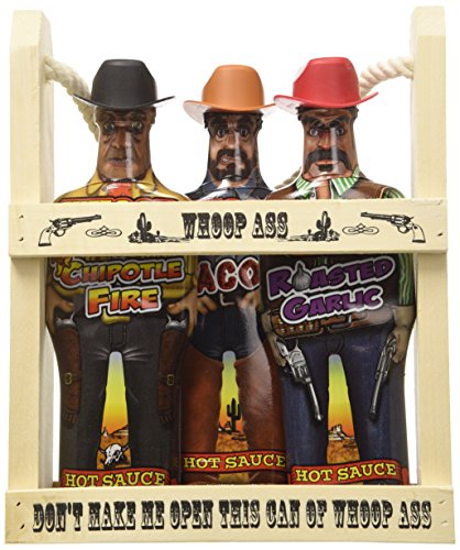 Gift Set - In a Wooden Crate! All three Hot Sauce Cowboys are packed into the local saloon and theyre packin heat. (Heat Hot Sauce Set)