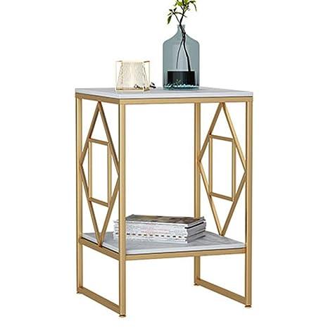 Amazon.com: ZHIRONG mesa auxiliar de mármol de 2 niveles ...