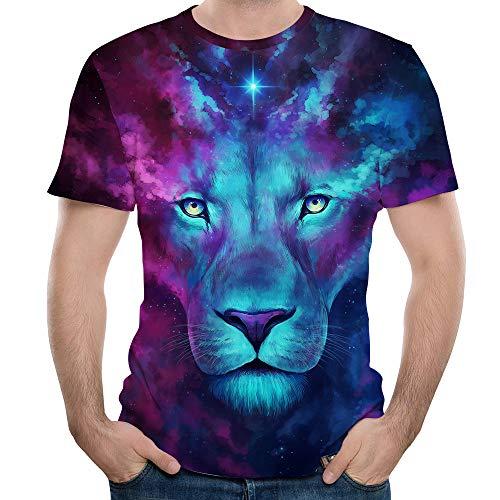 (Men T-Shirt,OWMEOT Youth and Big Boys Girls Animal Dinosaur 3D T Shirt Tiger Lion Printed Tops (Blue, L))