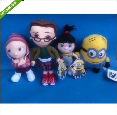 DESPICABLE ME Agnes Edith Margo Dave the MINION PLUSH STUFFED DOLL TOYS,Set of 4]()