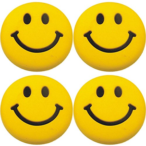 Four (4) of Smile Face Rubber Charms for Wristbands and Shoes