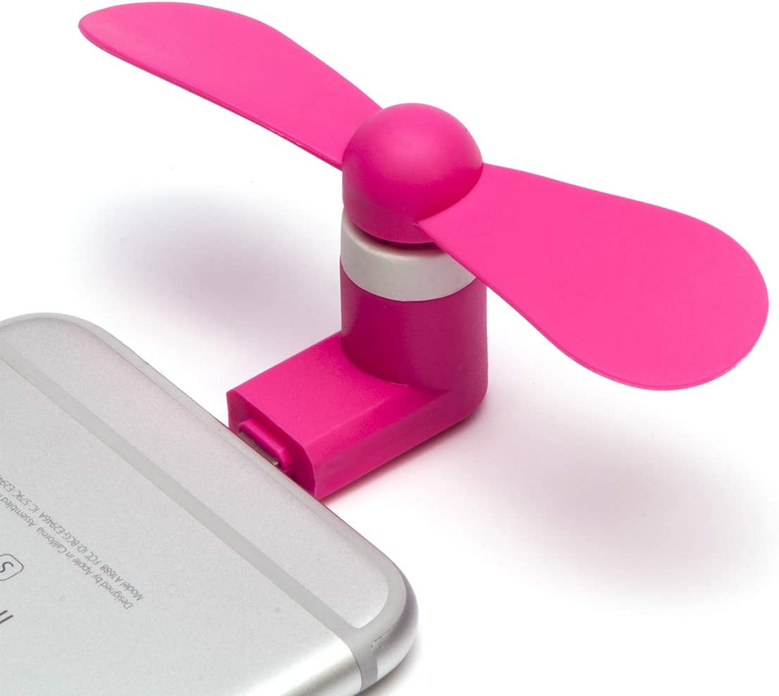 Phone Fan,Portable Cell Phone Fan Compatible for Mini Fan for iPhone 6/6 Plus,7/7 Plus,8/8 Plus, ipad (Pink) (W13