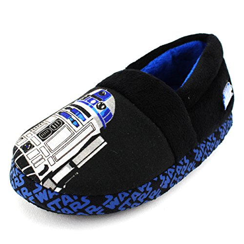 Star Wars Slippers (Star Wars Kids A-Line Slippers (R2D2 Black, 9/10 M US Toddler))
