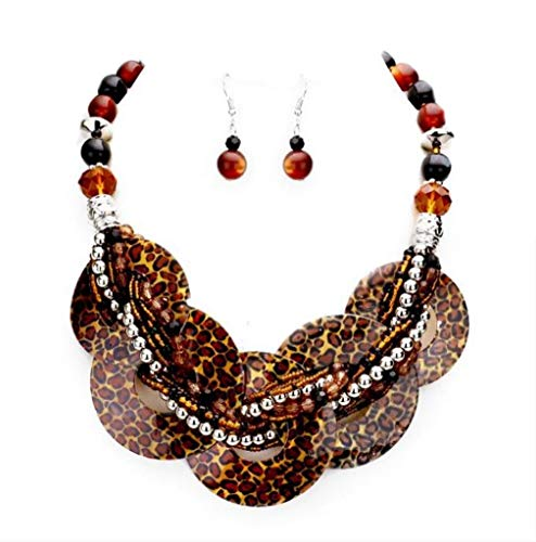 - Chunky Leopard Animal Print Abalone Shell Braided Strand Silver Beads Necklace Earrings Set Jewelry