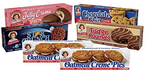 Little Debbie Cookie Variety Pack, 2 Boxes Of Oatmeal Creme Pies, 1 Box Of Fudge Rounds, 1 Box Of Chocolate Chip Creme Pies, 1 Box Of Star Crunch, 1 Box Of Jelly Creme Pies, 6 Piece Assortment