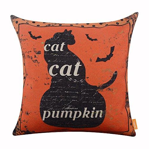 [LINKWELL 18x18 inches Happy Halloween Orange Black Cat on Pumpkin Burlap Throw Cushion Cover Pillowcase] (Hallowe En Costumes Ideas)