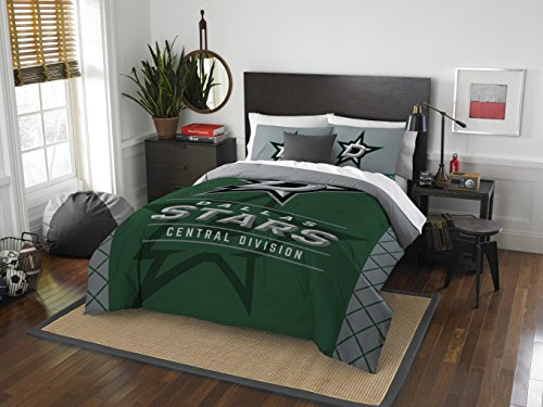 Officially Licensed NHL Dallas Stars Draft Full/Queen Comforter and 2 Sham Set