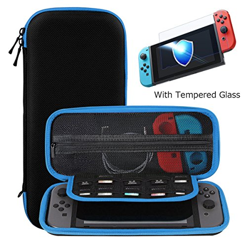 Ztotop Case and Tempered Glass Screen Protector for Switch, Portable Travel Carrying Case Protective Hard Shell Pouch for Switch Console & Accessories (10 Game Holder), Streak Blue