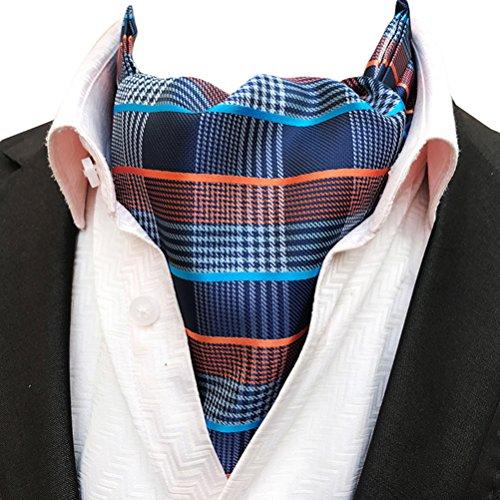 (MOHSLEE Men Blue Orange Striped 100% Silk Cravat Tie Wedding Ascot Scarf Nekties)